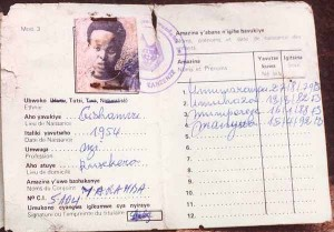 This is an example of a card that was mandated by the Belgians for all Rwandans. This specific individual belongs to the Tutsi tribe.